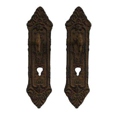 Cast Iron Rustic Decorative Key in Lock Wall Mount Hooks (2-Pack) in Brown
