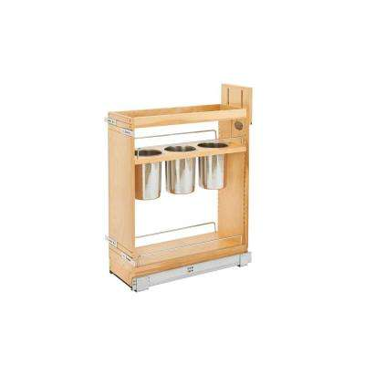 25.5 in. H x 8 in. W x 21.625 in. D Pull-Out Wood Base Cabinet Utensil Organizer with 3 Bins and Soft-Close Slides