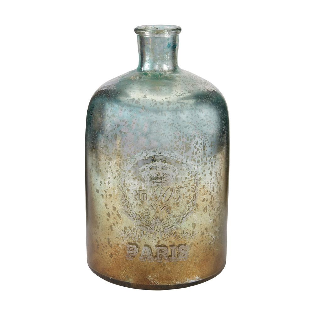 Titan 12 in. Glass Decorative Bottle in Antique Mercury A...