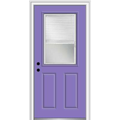 32 in. x 80 in. Internal Blinds Right-Hand Inswing 1/2-Lite Clear Painted Steel Prehung Front Door