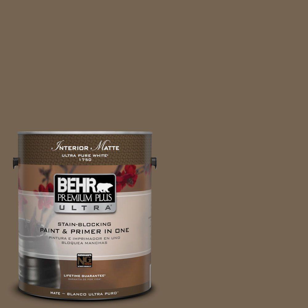 1 gal. #HDC-SM14-4 Tan Bark Trail Matte Interior Paint and Primer