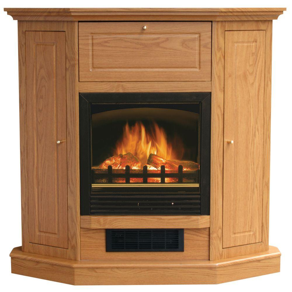 Stay-Warm 39 in. Electric Fireplace with Storage in Oak-DISCONTINUED