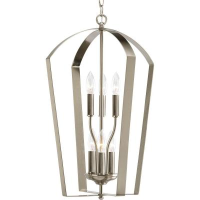 Gather Collection 6-Light Brushed Nickel Foyer Pendant