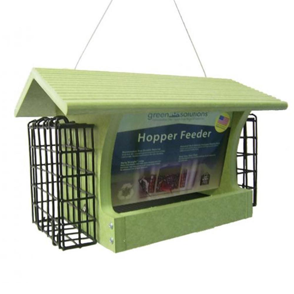 Green 3 Qt. Hopper and Suet Cage Wild Bird Feeder