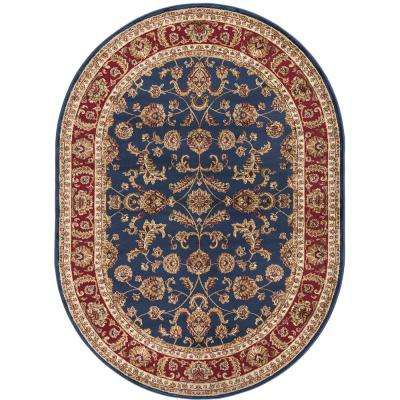 Sensation Navy Blue 5 ft. 3 in. x 7 ft. 3 in. Oval Transitional Area Rug