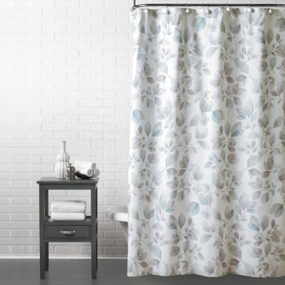 Faithful Leaves 72 in. Shower Curtain in Gray