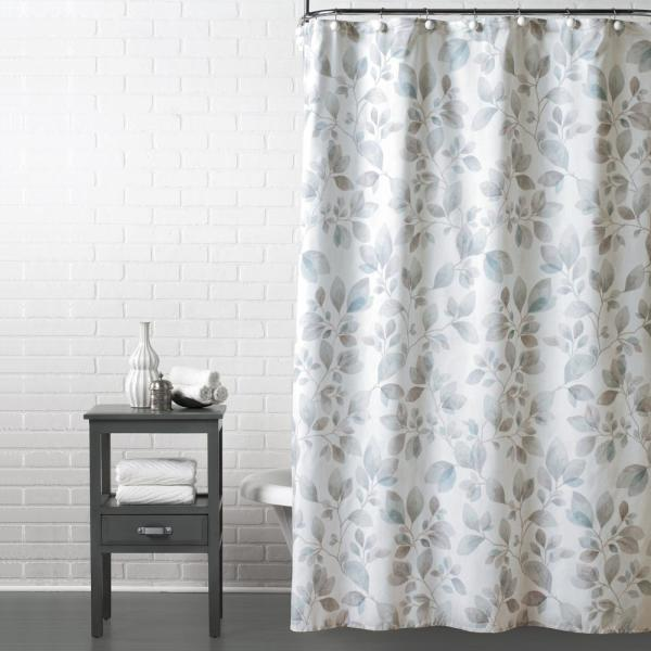 Saturday Knight Faithful Leaves 72 in. Shower Curtain in Gray T1579000200001