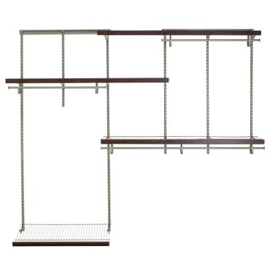 Shelftrack 60 in. W - 96 in. W Nickel Wire Closet System with Wood Trim