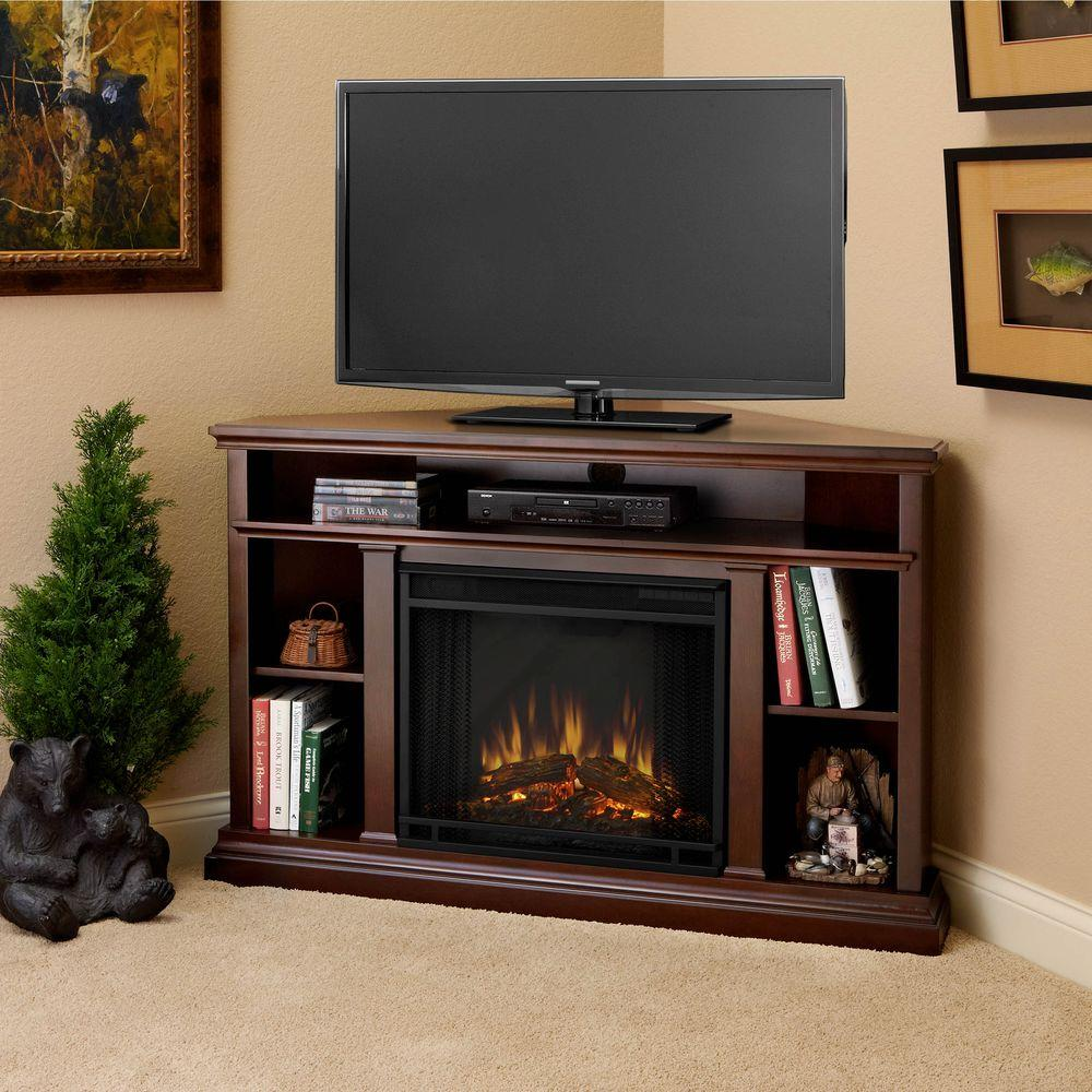 Corner media console electric fireplace in dark espresso