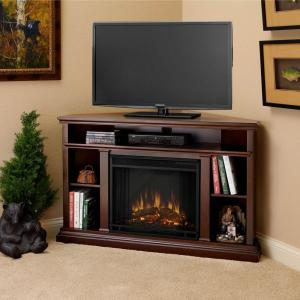Real Flame Churchill 51 inch Corner Media Console Electric Fireplace in Dark Espresso by Real Flame