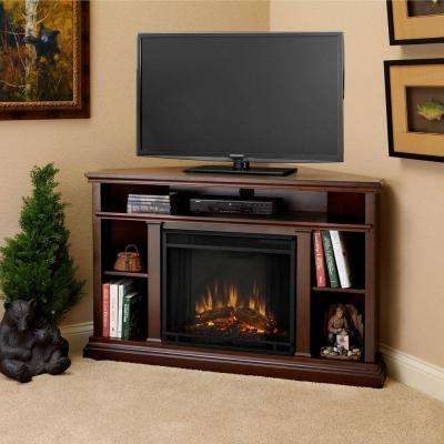 Churchill 51 in. Corner Media Console Electric Fireplace in Dark Espresso