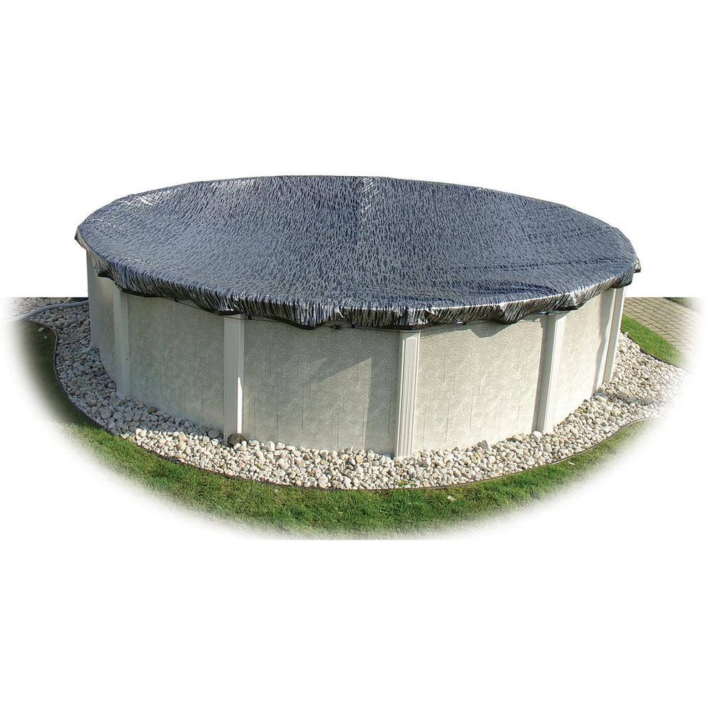 Hinspergers 21 ft. x 41 ft. Oval Black/Silver Above Ground Enviro Winter Pool Cover