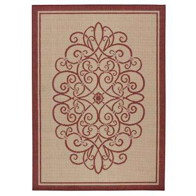 Border Iron Gate Cream/Red 5 ft. x 7 ft. Indoor/Outdoor Area Rug