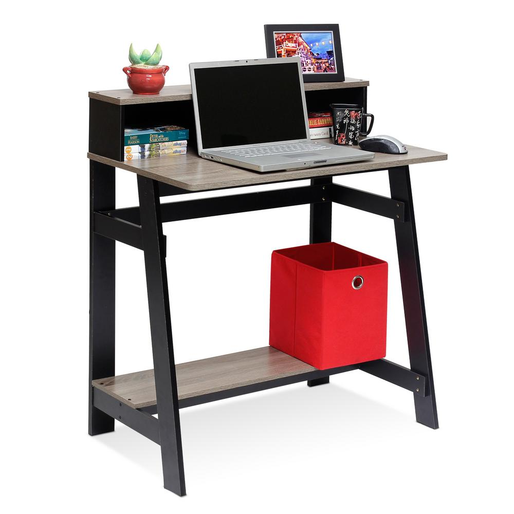 Simplistic Black French Oak Grey Computer Desk With A Frame