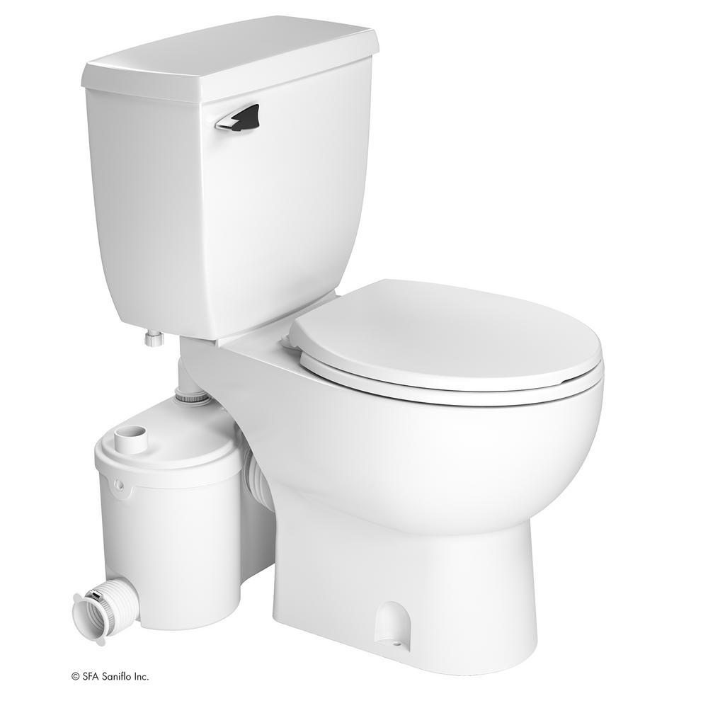 SaniBest Pro 2-Piece 1.28gal Single Flush Round Toilet with 1hp Grinder Pump in White