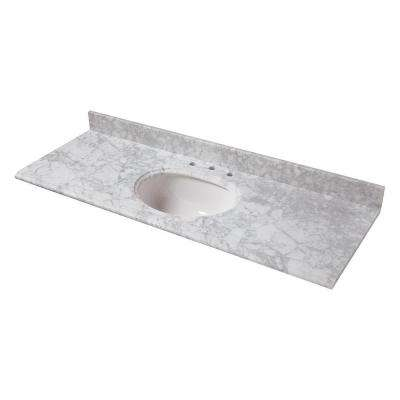 61 in. W Marble Vanity Top in Carrara with Single White Bowl and 8 in. Faucet Spread