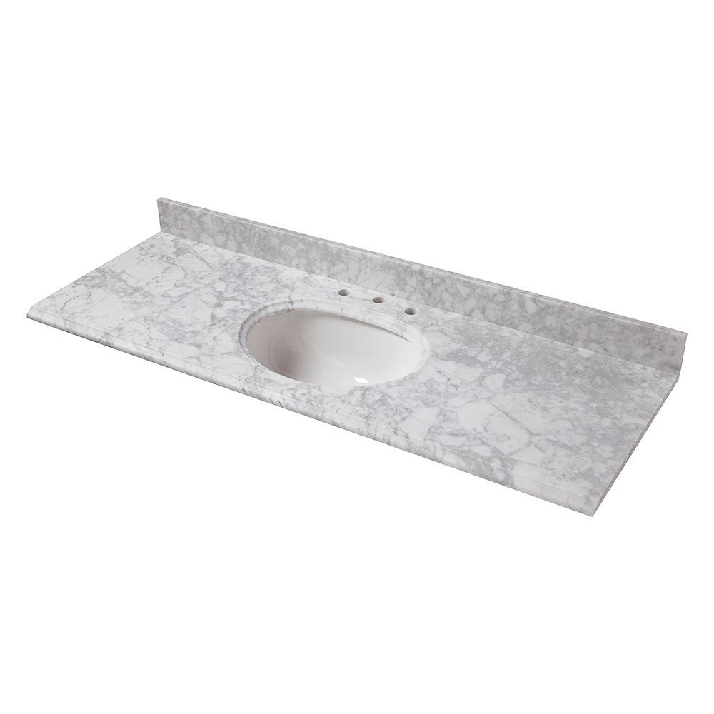 Pegasus 61 in. W Marble Vanity Top in Carrara with Single...