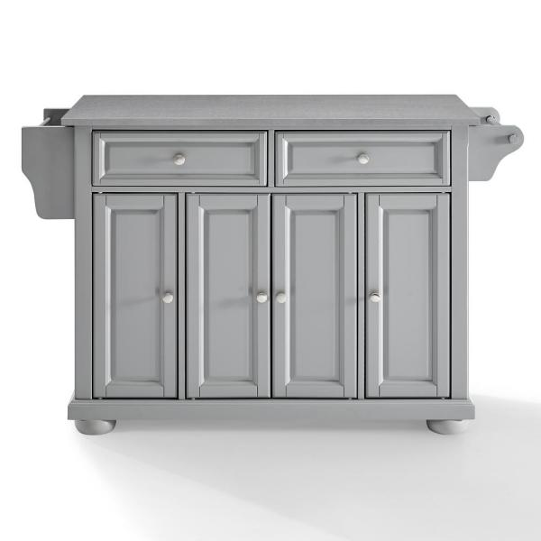 Crosley Furniture Alexandria Gray Kitchen Island With Stainless Steel Top Kf30202agy The Home Depot