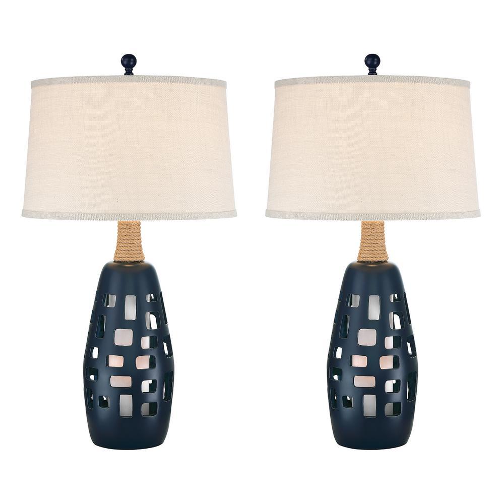 32 in. Navy Blue Indoor Table Lamp Set