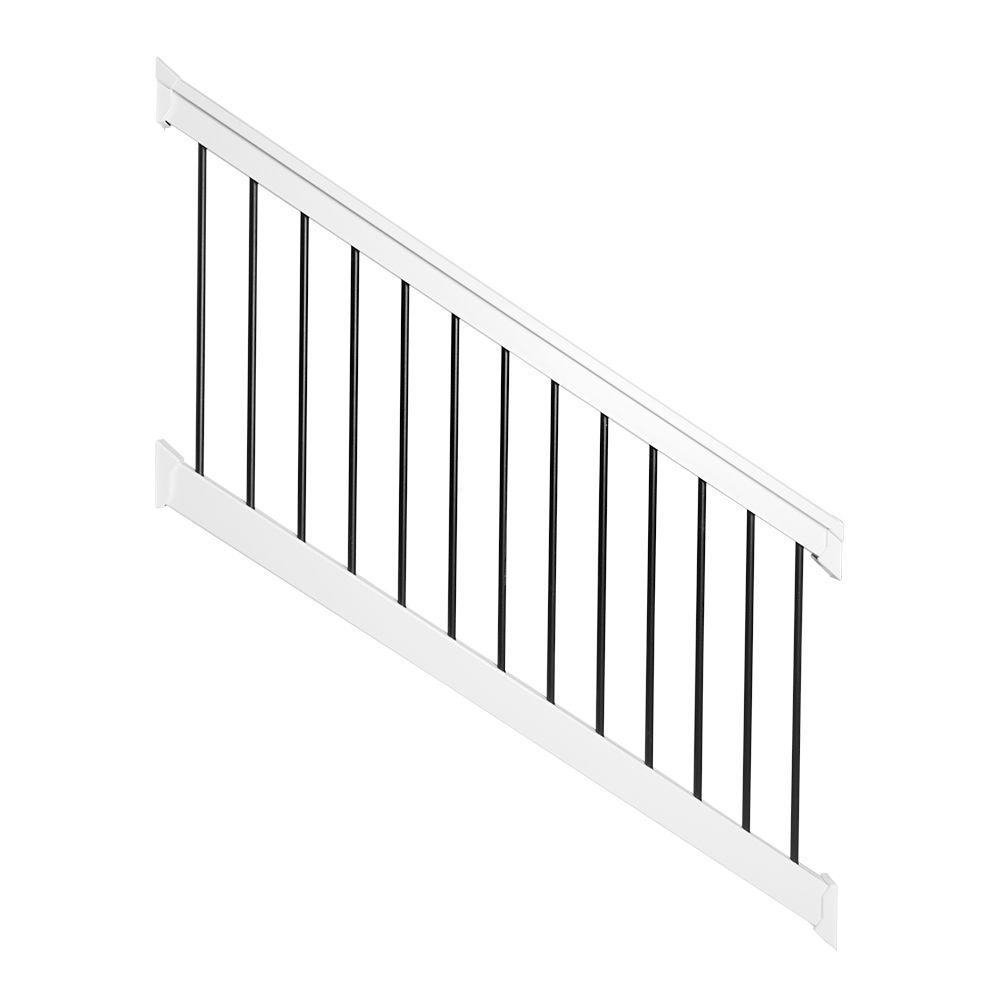 Weatherables bellaire 3 5 ft h x 72 in w white vinyl stair railing kit wwr thdba42 s6s the - Vinyl railing reviews ...