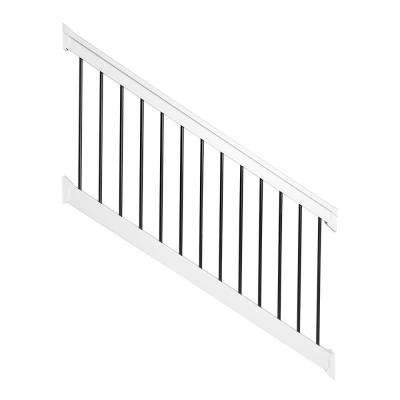 Bellaire 3.5 ft. H x 72 in. W White Vinyl with Round Black Aluminum Spindles Stair Railing Kit