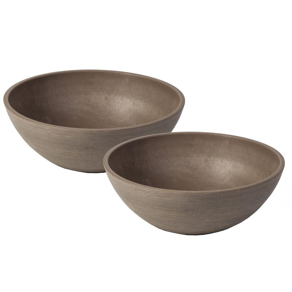 Valencia 10 in. Round Textured Taupe Polystone Bowl Planter (2-Pack)