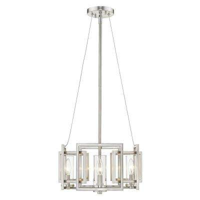 Marco 4 Light Pendant (Convertible) in Pewter with Clear Glass