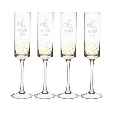 Oh What Fun 2 in. x 10.4 in. Gold Dot Christmas Contemporary Champagne Flutes