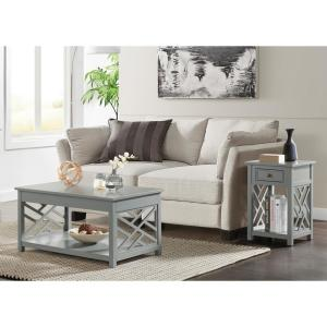 Coventry 2-Piece 36 in. Gray Medium Rectangle Wood Coffee Table Set with Drawers