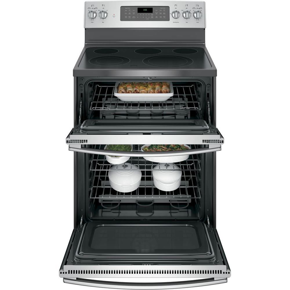 GE 6.6 cu. ft. Double Oven Electric Range with Self-Cleaning and ...