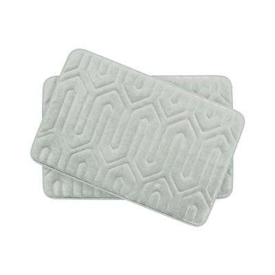 Thea Light Gray 17 in. x 24 in. Memory Foam 2-Piece Bath Mat Set