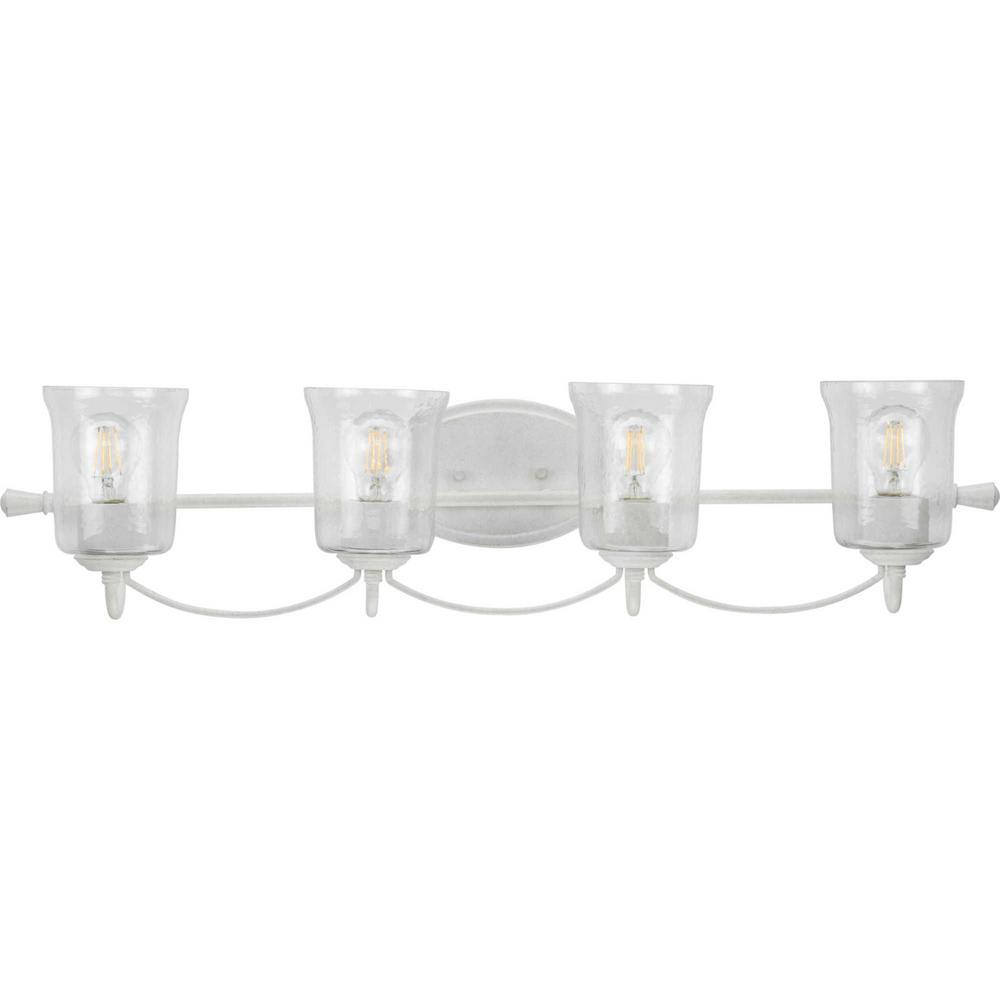 Bowman 4-Light Cottage White Semi-Flush Mount Convertible Vanity Light