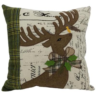 14 in. x 14 in. Reindeer With Applique Suede Collection Pillow With Polyester Filled