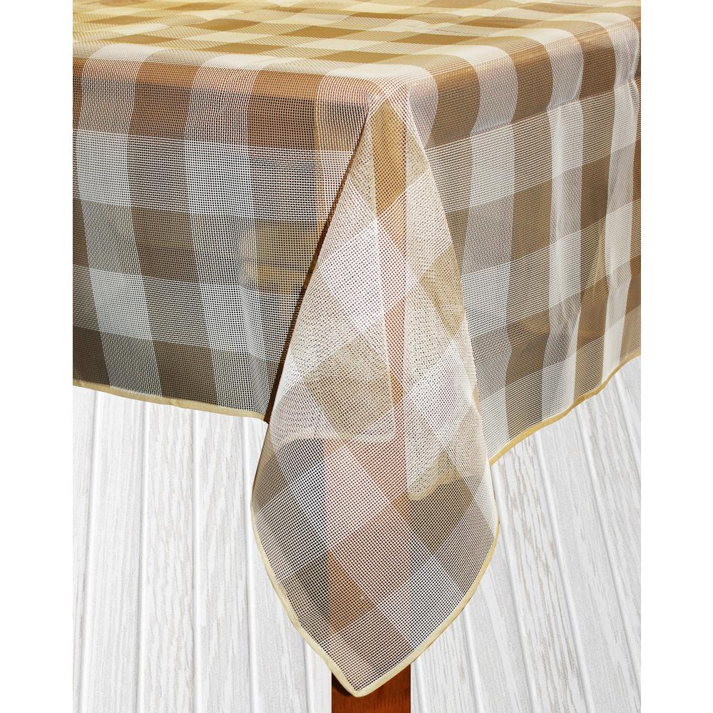 Lintex Bistro Check 70 in. Round Sand Vinyl and Poly Tabl...