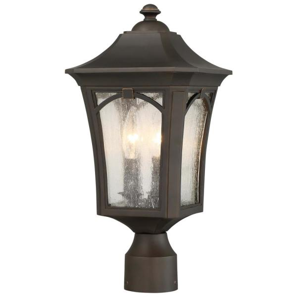 Solida 3-Light Outdoor Oil Rubbed Bronze Post Light with Clear Seeded Glass