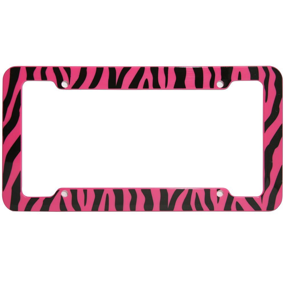 Oxgord Zebra Pink And Black License Plate Frame Lfpl Z1 Pk The