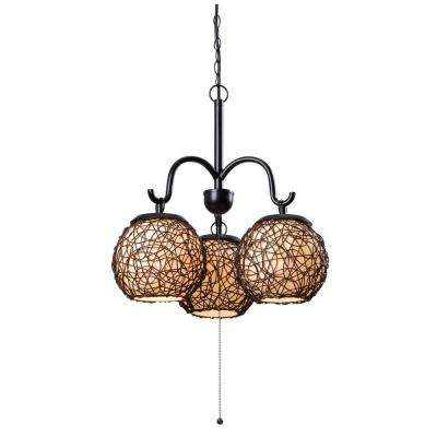 Castillo 3-Light 21 in. Bronze Outdoor Chandelier