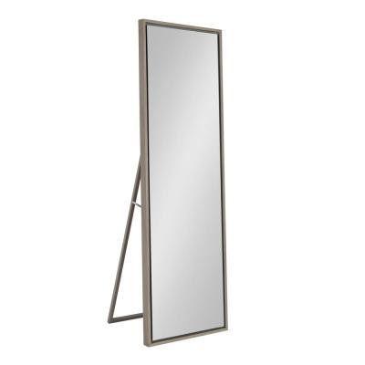 Large Gray Composite Modern Mirror (58 in. H X 18 in. W)