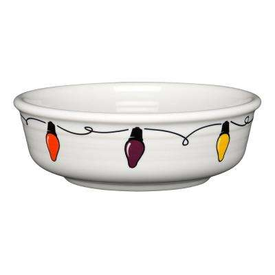 "5 3/8"" 14.25 oz. White Ceramic Fiesta Lights Small  Bowl"