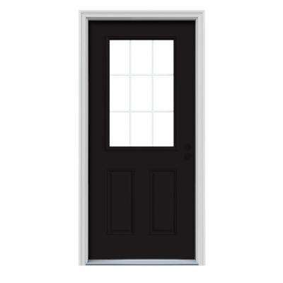 9 Lite Painted with White Interior Premium Steel Prehung Front Door  Brickmould 32 x 80 Doors The Home Depot