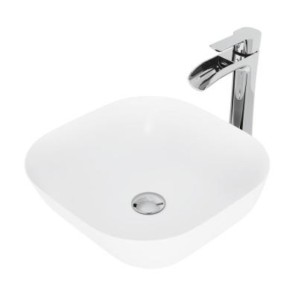 Camellia White Matte Stone Vessel Bathroom Sink Set With Niko Vessel Faucet in Chrome