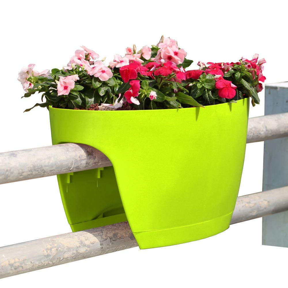 greenbo xl deck rail planter box with drainage trays 24 in color rh homedepot com Self Watering Planters Home Depot Railing Planters at Lowe's