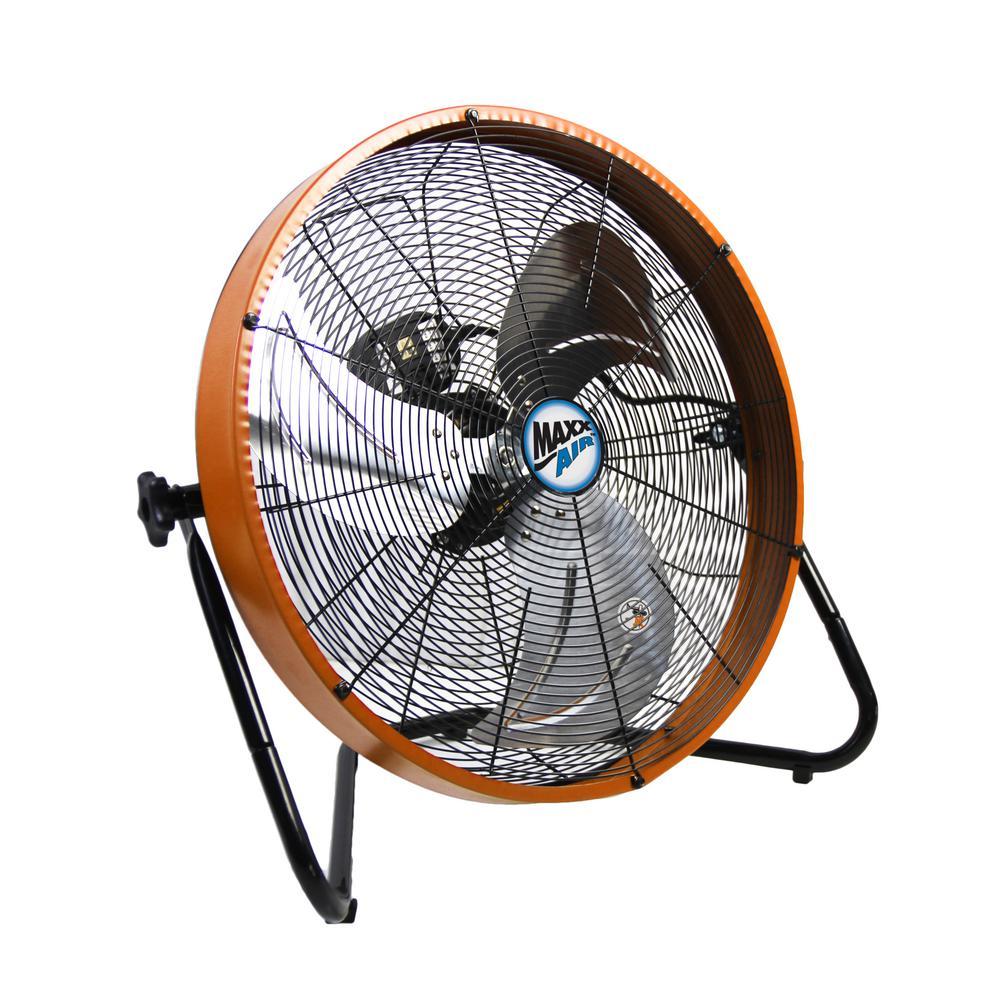 3 Speed Shroud Floor Fan With Orange Housing