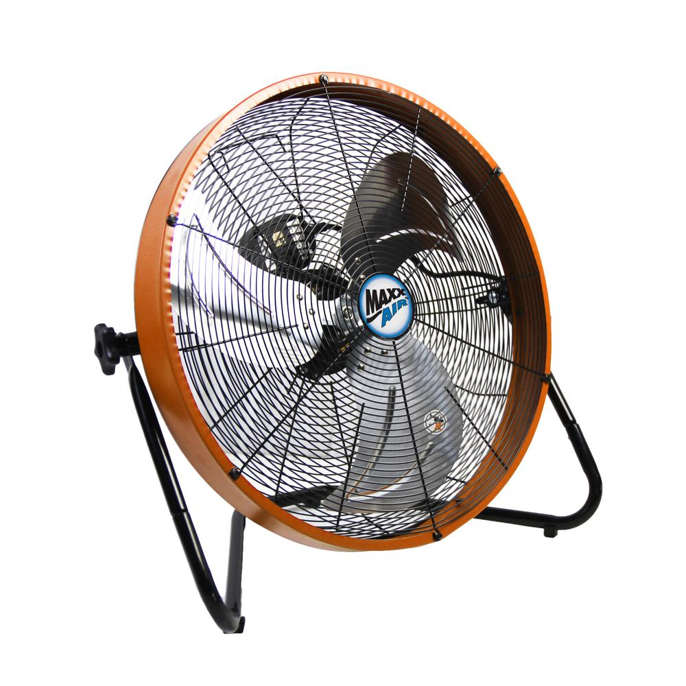 MaxxAir MaxxAir 20 in. 3-Speed Shroud Floor Fan with Orange Housing