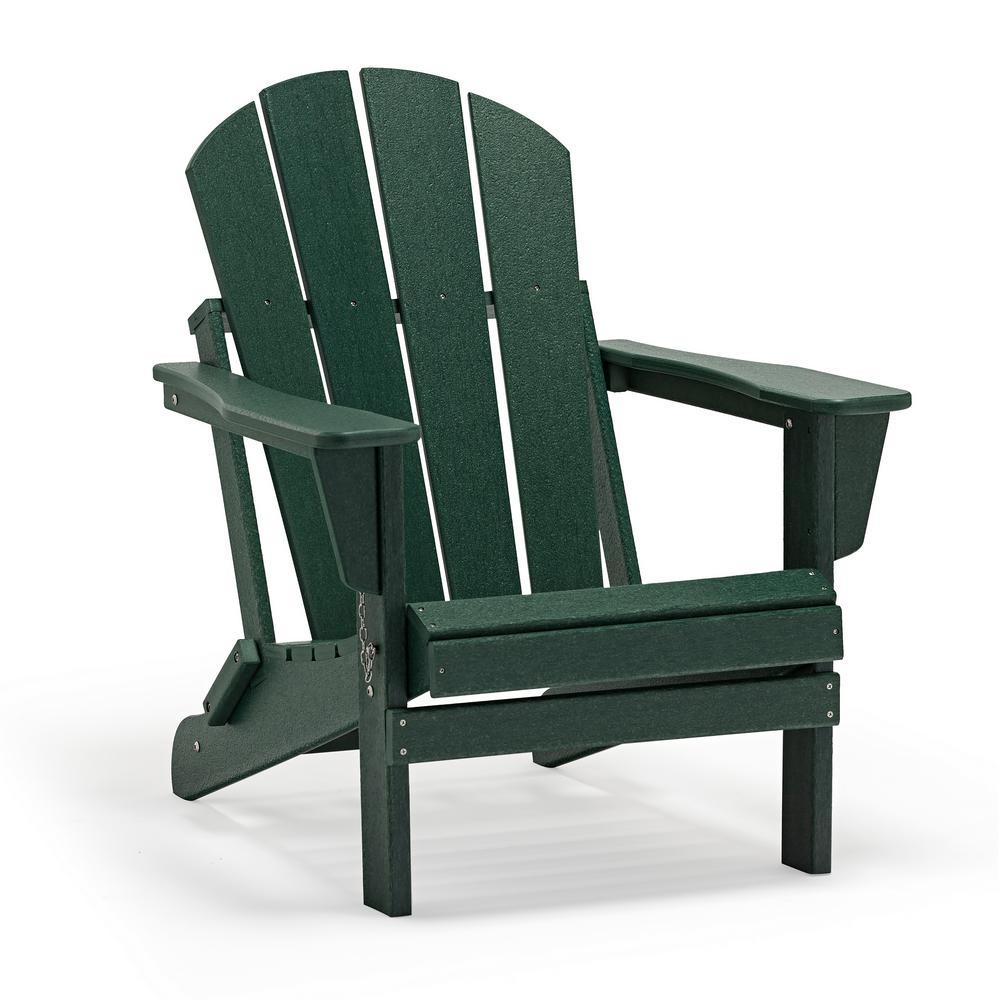 Addison Dark Green Outdoor Folding Plastic Adirondack Chair