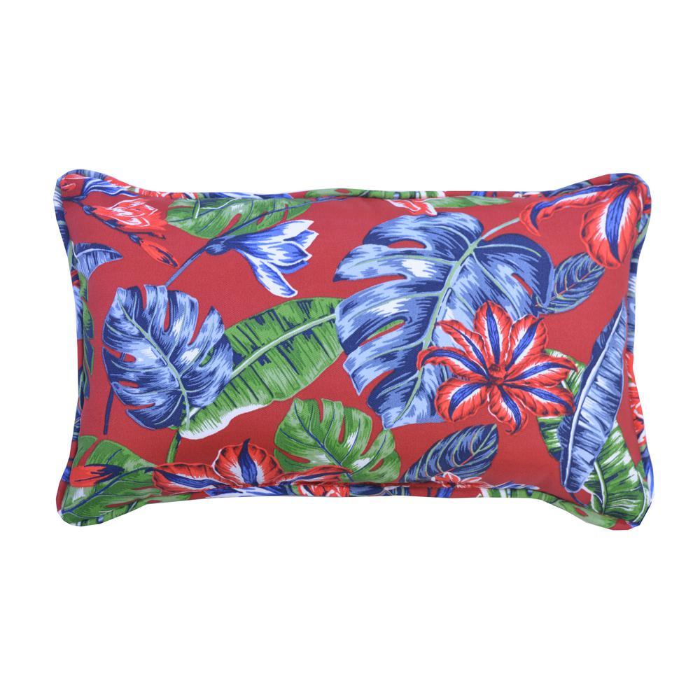 Ruby Tropical Lumbar Outdoor Throw Pillow (2-Pack)