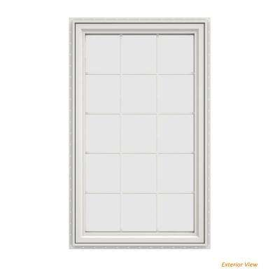 35.5 in. x 59.5 in. V-4500 Series White Vinyl Left-Handed Casement Window with Colonial Grids/Grilles