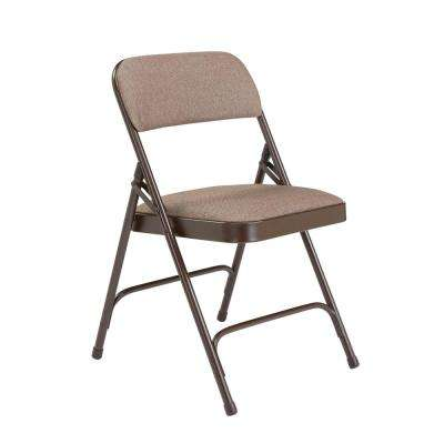 Brown Fabric Padded Seat Stackable Folding Chair (Set of 4)