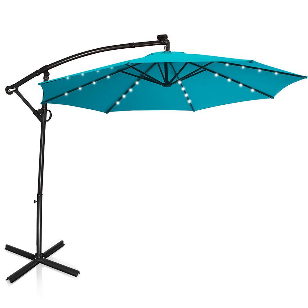 10 ft. 360-Degrees Rotation Aluminum Offset Cantilever Solar Tilt Patio Umbrella LED Lights Turquoise