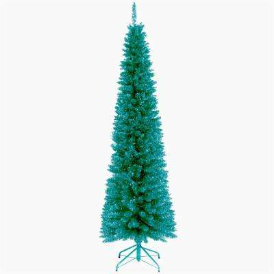 turquoise tinsel artificial christmas tree